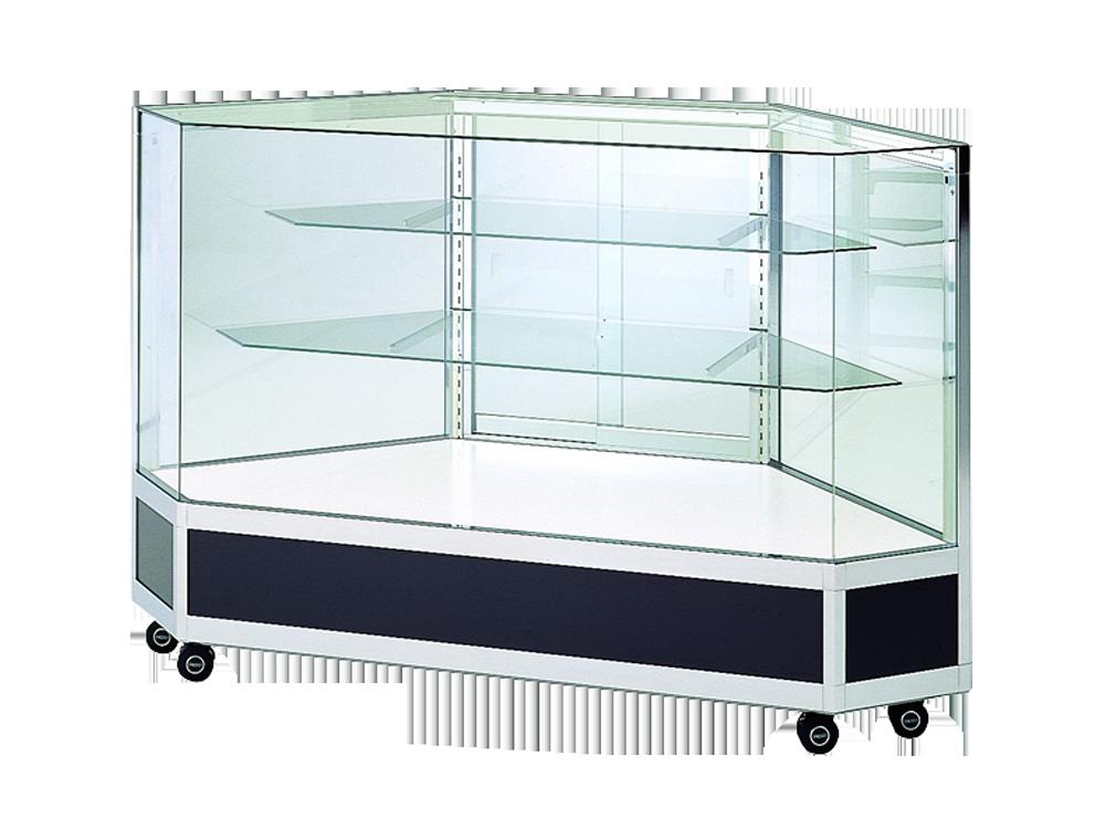 全面ガラスケース 棚板2段 ブラック