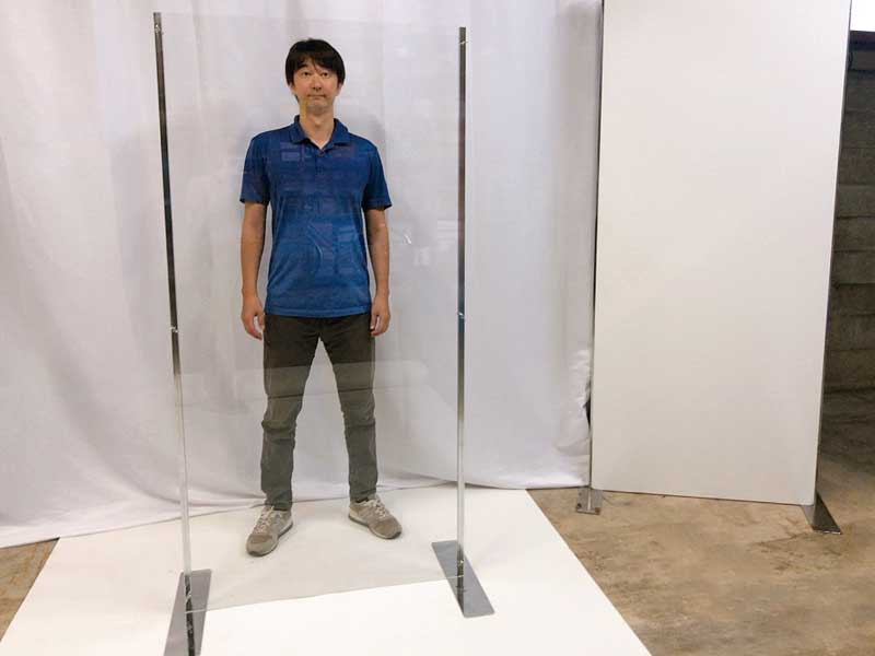 飛沫感染防止用直立型アクリルパネル サイズ使用例